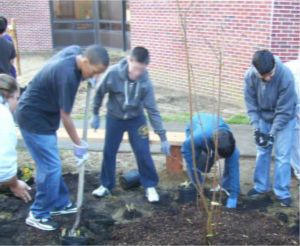 Students at Toms River Intermediate School North gather together to create a beautiful Outdoor Classroom for their school.