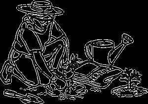 Cartoon of a woman applying fertilizer